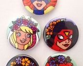 Super Ladies in Flower Crowns Pin Set (2 of 2)