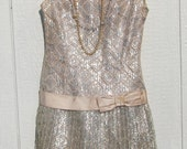 1960s Does 1920s Flapper Great Gatsby Silver Lace Party Dress
