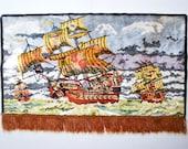 tapestry velvet rug art plush wall hanging vintage home decor sailing ships nautical scene