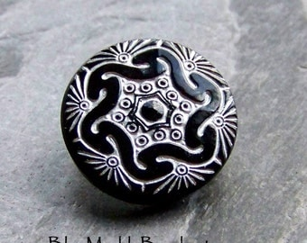 Czech Button-Glass Button-Etched Button-Vintage Button-Black and White-Washed-Metal Shank-18mm-2 Buttons