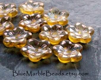 Czech Glass-Czech Bead-Glass Flower Bead-Yellow Glass Bead-Copper Triangle-16mm-10 Beads