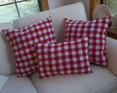 Set Red Gingham Pillows Red & White Porch Pillows READY to SHIP 3 Red Checked Pillows Red Picnic Pillows French Country Patriotic Pillows