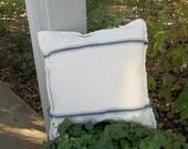 Grain Sack Pillow Blue Stripe Pillow CoverThrow Pillows Grain Sack Fabric Decorative Pillow French Country Farmhouse Custom Sizes