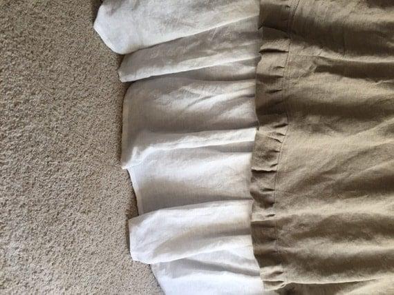custom ruffled bed skirt linen dust ruffle extra long bed. Black Bedroom Furniture Sets. Home Design Ideas