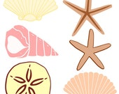 Seashells-SVG Cut File for use with Silhouette Studio Design Edition,Cricut Design Space and others