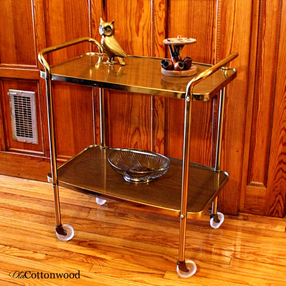 Vintage Metal Cart Serving Cart Kitchen Cart Red: Vintage Cart Serving Cart Kitchen Cart Metal Cart
