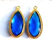 55% OFF SALE 1 Pc 33x15 mm Gold Plated Bezel Set AAA Tanzanite Blue Quartz Faceted Pear Charm, Single Loop Gemstone Pendant Gp69