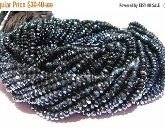 55% Sale Sparkling AAA Mystic Black Spinel faceted rondelles 14 inch strand Size 3.5mm approx