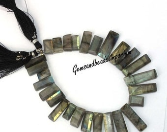 55% OFF SALE Full 8 Inches Labradorite Gemstone Faceted Chiclets Beads - Labradorite Rectangle beads Size 11x12 - 23x9 mm