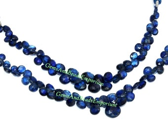 1/2 Strand - Rare Finest Quality Natural Deep Inky Blue Kyanite Faceted Heart Briolettes Size 5 - 8mm - Gemstone Briolette 03