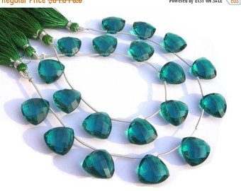 50% Off Valentine day 1/2 Strand - AAA Teal Blue Quartz Faceted Trillion Briolettes Calibrated Size 16x16mm