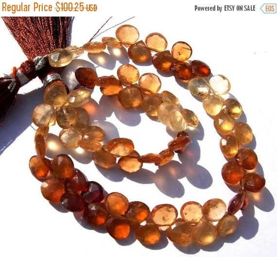 55% OFF SALE Full 8 inches strand of Hessonite garnet faceted heart shaped briolettes in size of 7 - 8mm approx