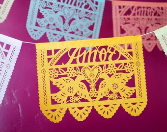 Valentine's Day decorations - Custom Color - AMOR (refreshed design) Papel Picado Banners