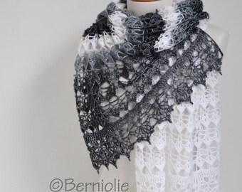 Lace crochet shawl, Black, white, grey,  P425