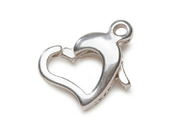 Sterling Silver Heart Clasp with Loop - 1 Set Jewelry Craft fnt