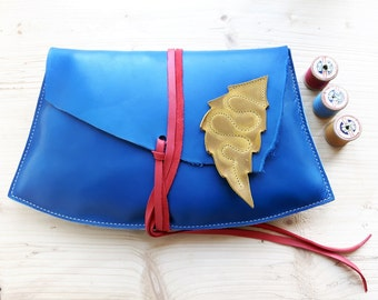 Large Leather Fairytale clutch Purse, Bag JEZABEL lapiz blue 3004