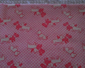 Childrens  Quilt Fabric Rose & White Scotties on Pink