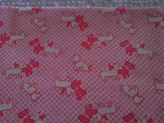 Childrens quilt fabric rose white scotties on pink from for Childrens quilt fabric