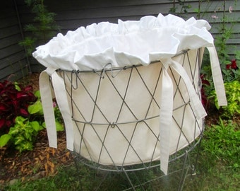 Liner for French Wire Laundry Basket - Creamy Ruffled Beauty - Shabby Cottage Chic