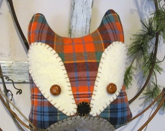 Wool FOX Penny Rug Style Embroidered Pillow - Orange/Blue Plaid