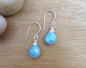 Larimar Earrings Sterling Silver Drop Earrings Larimar Jewelry Minimalist Earrings Sky Blue Gemstone Earrings Dangle Earrings Beach Bride