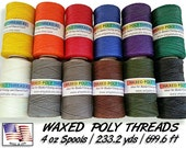 Waxed Poly Thread -4 oz Spool, Choose Color, Ideal for Pine Needle Baskets, Gourd Art, Leather work, Jewelry  Beading & Sewing Crafts