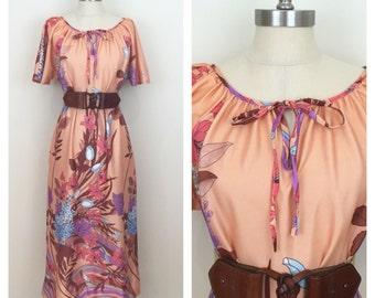 70s Peach Hydrangea Floral Print Maxi Dress, Medium to XL