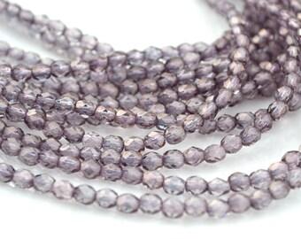 Rosaline MoonDust 4mm FirePolish Round Czech Glass Beads  50
