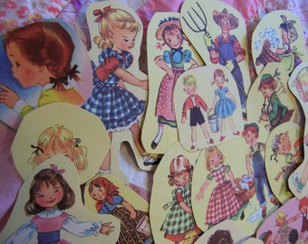 27 vintage children's book paper clippings
