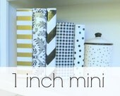 "1 inch oilcloth mini binder // 1"" half sheet planner dayplanner recipe organizer A5 three ring calendar // chevron stripe floral dot"