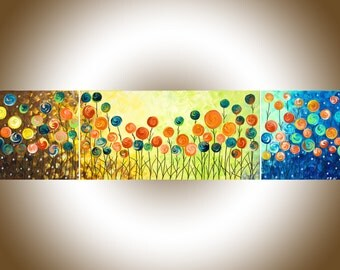 "Rainbow color art colorful abstract art 48"" Acrylic Landscape Painting wall art  narrow art Canvas art ""Wild Poppy Field"" by QIQIGALLERY"
