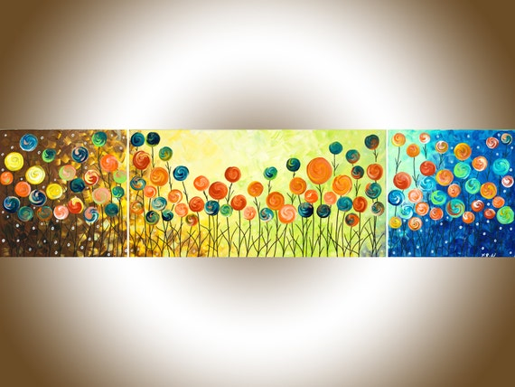 """Rainbow color art colorful abstract art 48"""" Acrylic Landscape Painting wall art  narrow art Canvas art """"Wild Poppy Field"""" by QIQIGALLERY"""
