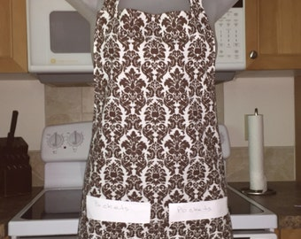 Womens Aprons - Aprons For Women - Brown and White Damask