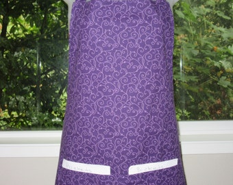 womens aprons - full aprons - doodle in purple