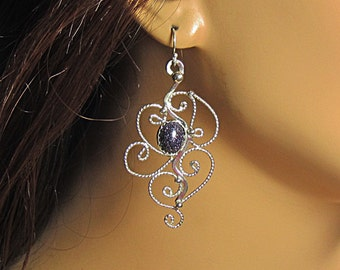 Sterling silver filigree and blue goldstone earrings, gift