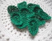 Crochet Leaves in Evergreen set of 10