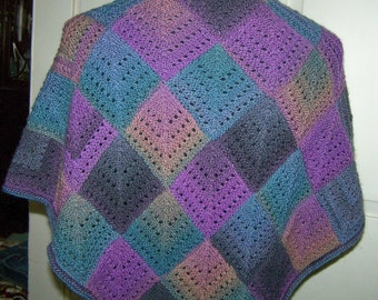Handknit Mitered Square Patchwork Shawl Wrap