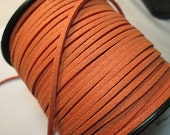 Faux Suede Lace, Microfiber Suede Cord, Pumpkin Orange Flat Lace, Fake Suede Leather, Soft Pliable, 2.4mm x 1.0mm, Length 15 Feet, sl6