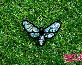 Glitter Moth Brooch, Holographic Glitter, Laser Cut Jewellery, Laser Cut Brooch, Laser Cut Acrylic