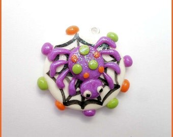 New Purple Spider on Web Polymer Clay Pendant Charm
