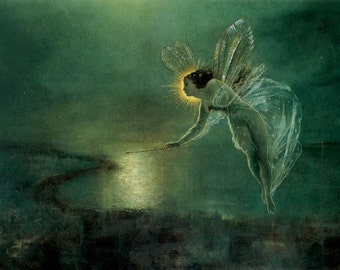 Grimshaw Spirit of the Night Painting Print on Canvas Ready to Hang Fairy Nymph Unique