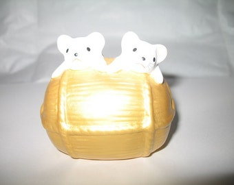 Vintage Good Luck Mice Figurine for Abundance and Feast