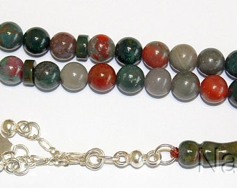 Prayer Beads Tesbih Gebetskette African  Bloodstone and Sterling Silver