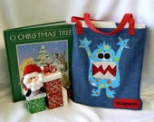 Kid Monster Tote Bag|Children Book Bag|Personalized Gift|Kids Tote Bag|Kid Gift Bag|Toddler Bag|Christmas Gift Bag|Denim Tote Bag