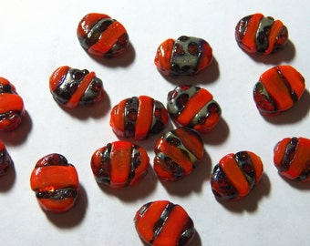 Vintage Thick Flat Oval Orange-Red Black & Silver Lampwork Glass Beads 16x13mm (2)