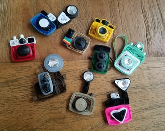 Set of 9 Quilled Vintage Toy Cameras