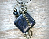 Lapis Lazuli Wire Wrapped Pendant Necklace in Gunmetal Wire
