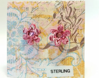 Polymer Clay Pink Flower Stud Earrings with Pink Crystal Centers and Sterling Posts