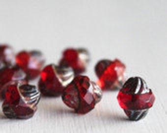 15 Ruby Picasso 10x11mm Turbine Beads - Czech Glass