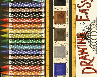 SCENIC STRIPE Multi DRAW Near Printed Cotton Quilt Fabric by the Yard, Half Yard, or Fat Quarter Fq Art Artist Crayons Watercolor Paints Set